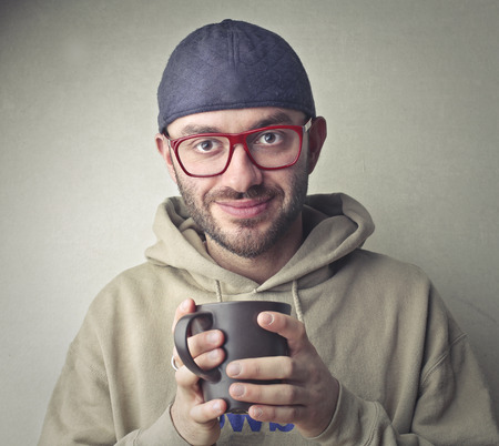 cup: Man with a cup of tea