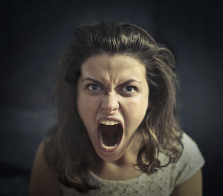 Angry woman is screaming Reklamní fotografie