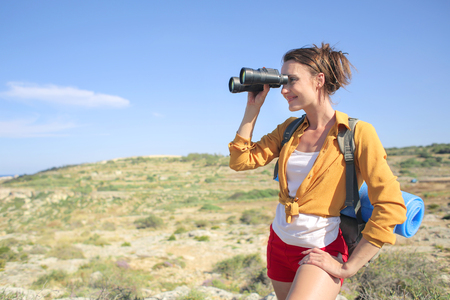 Woman is hiking alone