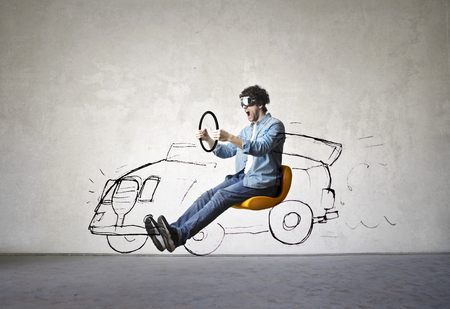 man is driving an imaginary car Stock Photo