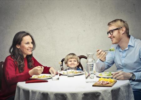 Happy family at dinner