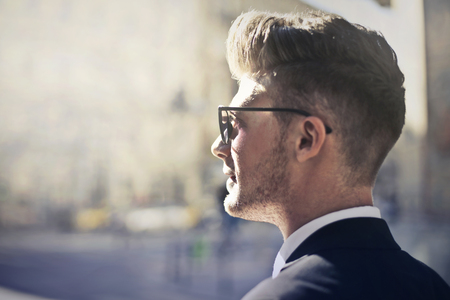 Businessman even sunglasses