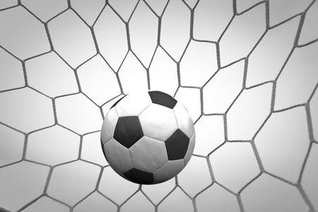 football in the net Stock Photo