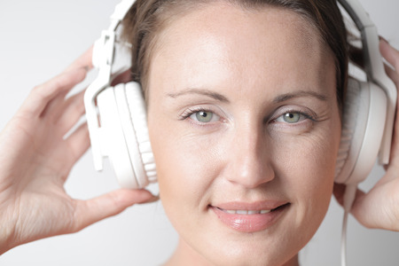 big: Woman with big headphones
