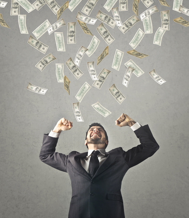 jubilate: Businessman with a lot of money Stock Photo