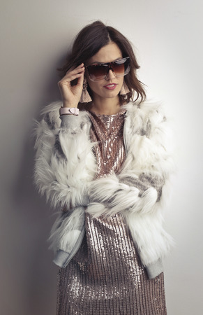 Portrait of an elegant woman with sunglasses Archivio Fotografico
