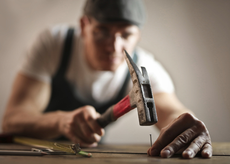 Detail of a carpenter at work Stock Photo