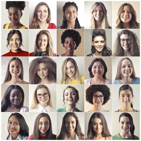 Collage van meisjes van vele nationaliteiten Stockfoto