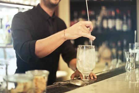 Barman preparing a drink
