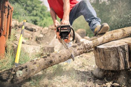 man cutting a trunk in the countryside Foto de archivo