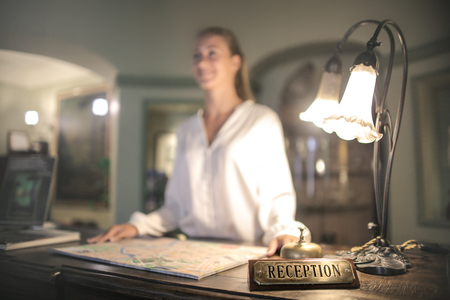 Receptionist of a hotel Stock Photo