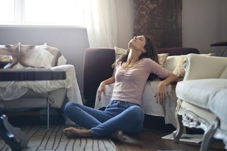 Relaxed girl in living room