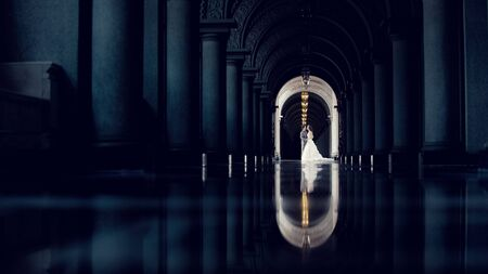 clothing: Bride and groom reflection of love. Stock Photo