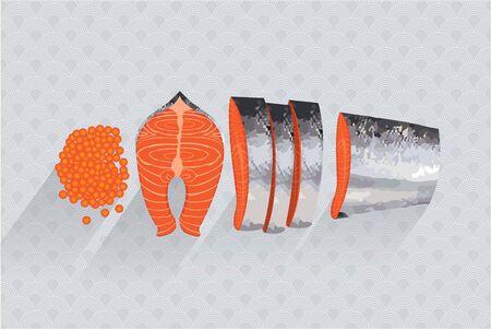 salmon fillet: Salmon Vector illustration cut Illustration