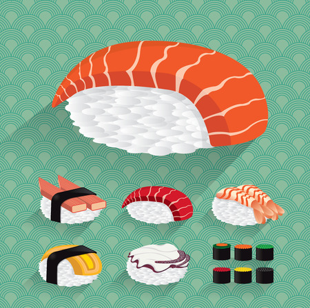 egg roll: Japan Sushi illustration Illustration