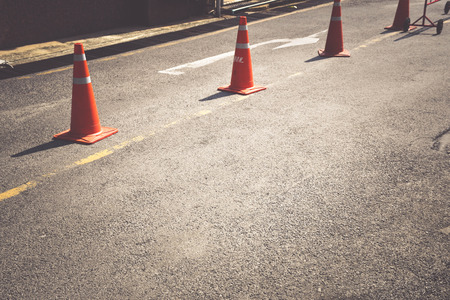 constraints: Street with traffic cones Stock Photo