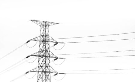electricity pole: Electricity pole hight voltage in white backgrounddie cut Stock Photo