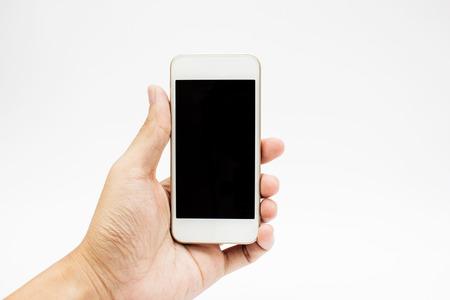 llamando: Manos que utilizan teléfonos Phoneholding teléfono inteligente en el fondo aislado Foto de archivo