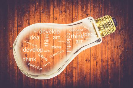 grunge bottle: idea concept  creative word  in shape light lamp  bulb bottle in grunge wooden background design