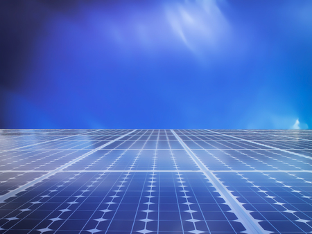 energy grid: solar cell power energy grid technology in  sky background Stock Photo
