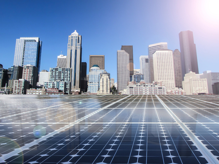 electric grid: solar cell power energy grid technology in city  background