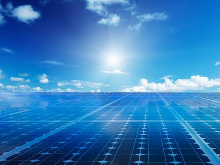 Solar cell power energy grid technology in  sky backgroundbackground design Foto de archivo