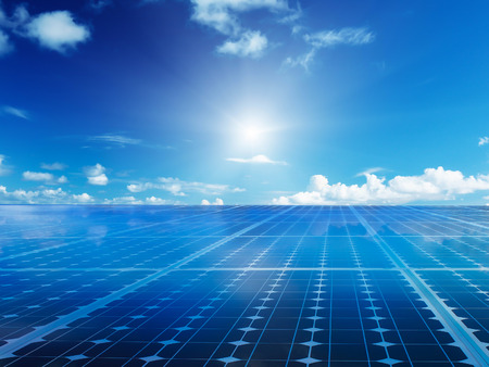 Solar cell power energy grid technology in  sky backgroundbackground design Archivio Fotografico
