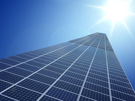 energy grid: Solar cell power energy grid technology in  sky backgroundbackground design Stock Photo