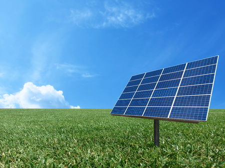 resouce: Solar cell power energy grid system idea concept background design Stock Photo