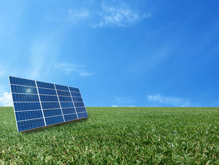 Solar cell power energy grid system idea concept background design Stock Photo