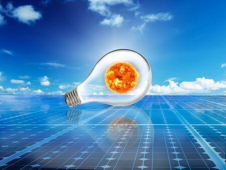 Solarzellen Stromenergienetzsystem Idee Konzept Hintergrund-Design