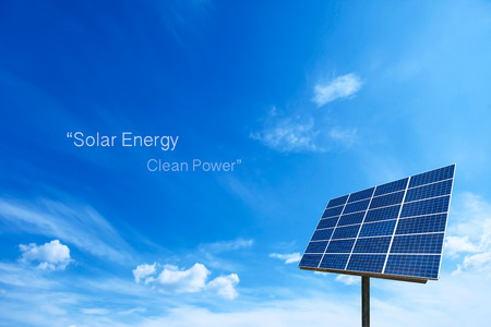 save electricity: Solar cell power energy grid system idea concept background design Stock Photo