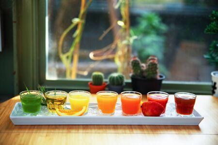 serv: fresh fruit juice drink desert for a healthy diet background