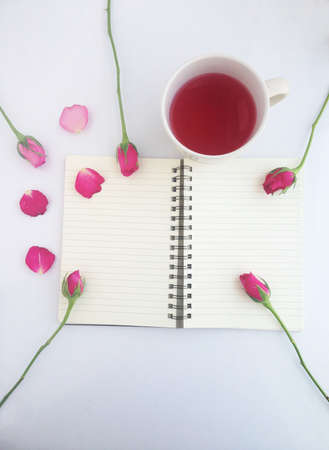 pink rose and sweet drink Stock Photo