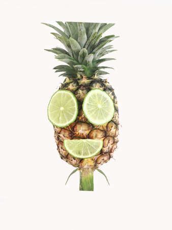 pineapple with mouth and eye made from lime