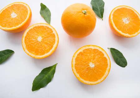 Fresh orange citrus fruit on white background. Top view Stock Photo