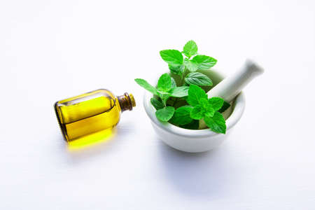 Natural Mint Essential Oil in a Glass Bottle with Fresh Mint Leaves in white porcelain mortar on white wooden background.
