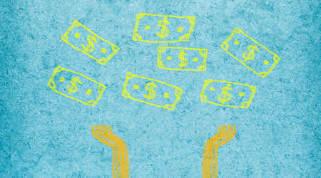 Dollar sign symbol falling down with hands waiting. Easy brush illustration paint on blue paper textures background.