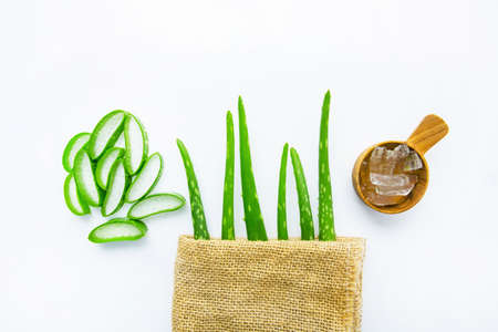 Aloe vera fresh leaves with aloe vera gel on wooden measuring spoon. isolated over white Stock Photo