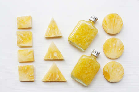 Fresh pineapple  juice on white background, Healthy vitamin drink. Stock Photo