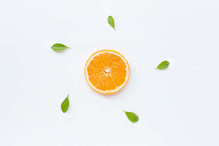 Slice of fresh orange  citrus fruit isolated on white background.