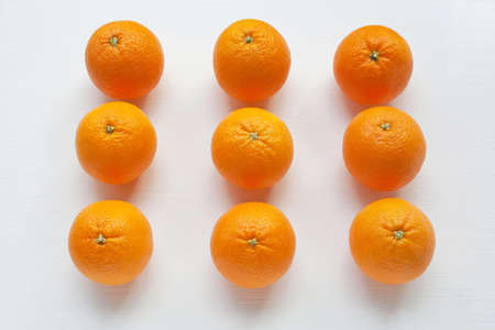 Fresh orange citrus fruit on white background. Top view Stok Fotoğraf