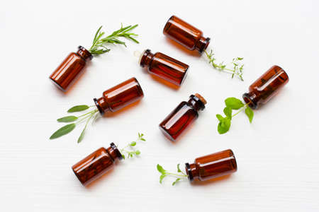 Top view, Bottle of essential oil with herbs  sage, rosemary, oregano, mint, thyme and lemon thyme  on white background. Imagens