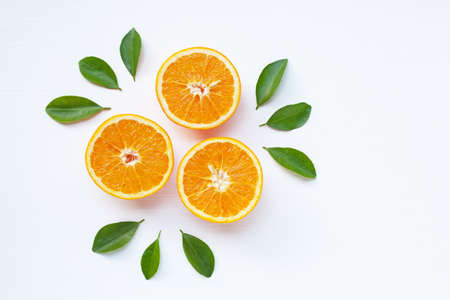 Fresh orange citrus fruit isolated on white background.  Top view