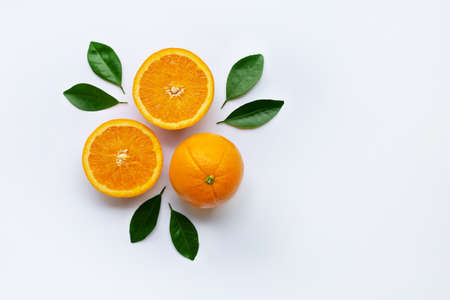 Fresh orange citrus fruit isolated on white background. 版權商用圖片
