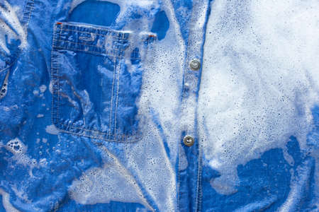 Wet Jeans shirt, Soak and wash.