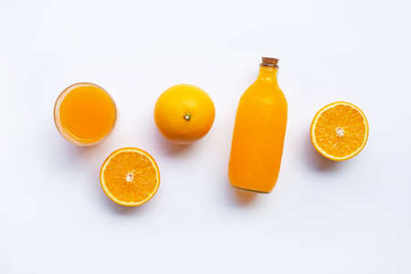 Orange fruits with Orange juice isolated on white background.  Top view
