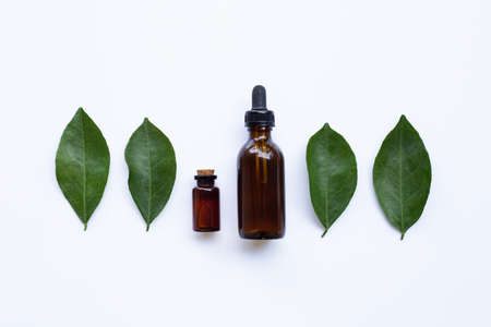 Essential oil with orange leaves 版權商用圖片