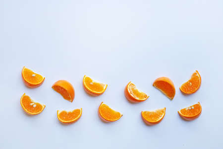 Orange citrus fruit on white background.  Top view, Copy space