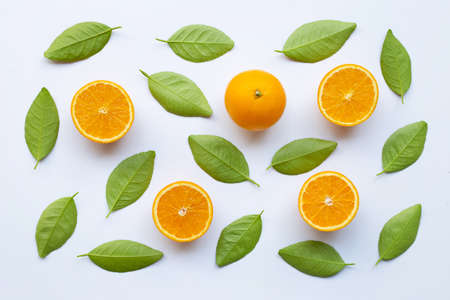 Oranges with green leaves on white background.